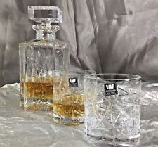 Crystal Glass Set Decanter 26 oz+ 6 Tumblers10 oz  Whiskey Vodka Cognac BOHEMIA