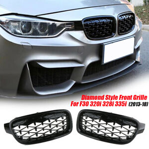 Front Kidney Diamond Grille Grill Gloss Black For BMW F30 320i 328i 335i 2013-18
