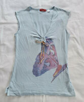 Guess Ladies Blue Butterfly Print Sleeveless V Neck T Shirt Top Size S New