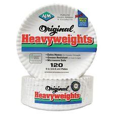 "AJM Original Heavyweights 9"" Coated Paper Plates  - AJMOH9AJBXWH"