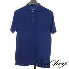 MODERN Kent Wang Royal Sapphire Blue Pique Spread Collar Cotton Polo Shirt M NR