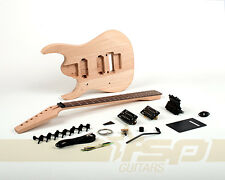Left Handed 7 String Solid Body DIY Electric Guitar Kit Project Mahogany