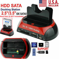 NEW HDD Docking Station SATA IDE Dual USB 2.0 Clone Hard Drive Card Reader US