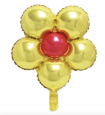 Gold & Red Flower Foil Balloon - Decoration for Party