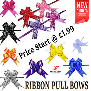 50 Pull Bows 30mm Wedding Car Gift Wrap Ribbon Florist WATERPROOF Decorat party