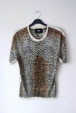 vtg D&G Dolce Gabbana leopard cheetah animal print stretch knit top blouse S m