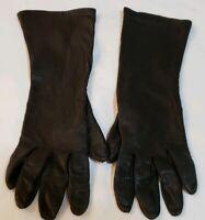 Vintage Dark Bomber Brown Leather 3/4 Length Gloves Size 7.5