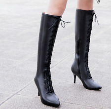 Women High Heel Pointed Toe Lace Up Zipper Casual Dress Nightclub Party Boots