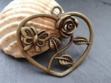 Antiguo Bronce Flor Mariposa Colgante de corazón D10 3pcs Steampunk Kitsch Vintage