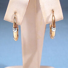 SOLID 14K YELLOW & WHITE GOLD DECORATED TUBE HOOP EARRINGS FOR PIERCED EARS