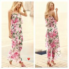42C024 Kaleidoscope Floral Print Frill Chiffon Maxi Dress Size 10