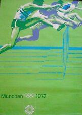 MUNICH 1972 OLYMPICS HURDLES A1 poster 23x33.5 OTL AICHER art NM Vintage