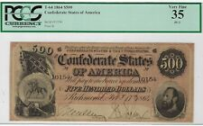 T-64 Pf-2 $500 1864 Confederate Paper Money - Pcgs Currency Very Fine 35