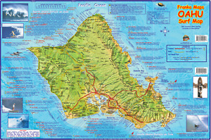 Surfing Oahu Hawaii Surf Map Poster Laminated by Franko Maps