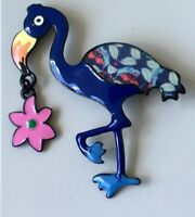 Vintage style Large flamingo with dangle flower brooch/pin in enamel on metal