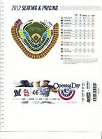 2012 MILWAUKEE BREWERS VS ST. LOUIS CARDINALS OPENING DAY TICKET STUB 4/6/12