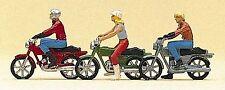Preiser 10126 H0, Mokickfahrer, Mopedfahrer, Motorrad, 3 Motorräder mit Figuren