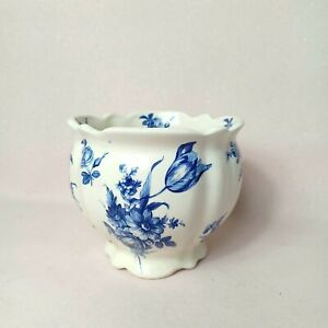 Small Vintage Blue White Chinoiserie Floral Victorian Style Plant Pot