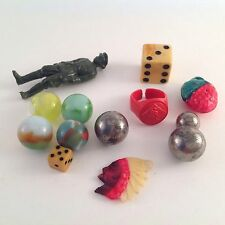 Lot of 14 Small Vtg Toys Marbles Soldier Red Sox Ring Dice Indian Chief Charm