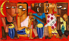 CUBAN ART #132 ** DIEGUEZ ** MÚSICA DE LA NOCHE 60X36 SIGNED ON CANVAS