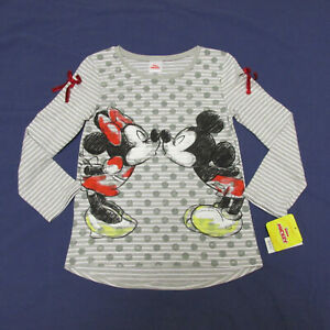 NWT Minnie Mickey Mouse LS Top Girl's XXS 4 5 SM 7 8 M 10 12 L 14 XL 16 Grey New