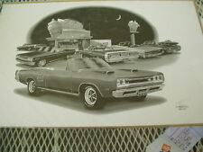 """69 Dodge Coronet R/T Convertible,Thom SanSoucie, Hand Signed Print, 11"""" x 17"""""""