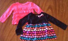 Toddler Girls 2 Lot L/S Knit Shirt Pink Lace Ruffles Black Dress Type Hearts 2T