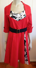 Fabulous 1950s-look red waisted rockabilly cotton dress size 3XL (16 - 18)