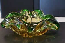 Murano Chalet Cased Glass Green Amber Bowl With Folded Edges