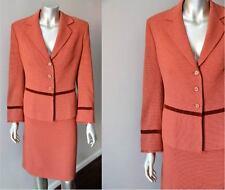 Tweed Orange Jacket Two 2 Piece Pencil Skirt Wool Career Suit Sz ML