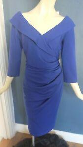 NEW BNWT DIVA ELIZA COBALT BLUE WIGGLE DRESS SIZE XXL (16) 50S PIN UP RRP£99