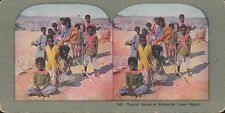 Coloured Vintage 3D Stereoview Card - Group of Bisharins in Upper Egypt