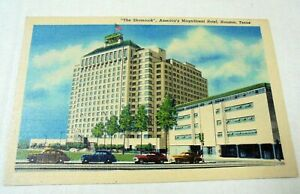 LINEN POSTCARD: HOUSTON~TEXAS~THE SHAMROCK HOTEL~1949~CARS~HILTON~MEDICAL CENTRE