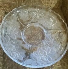 """Glass Serving Tray - Etched Floral roses design with Scalloped Edge 14"""""""