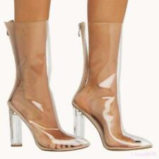 Fashion Women's Mid-Calf Boots Shoes Transparent Pointed Toe Block Heel Zipper
