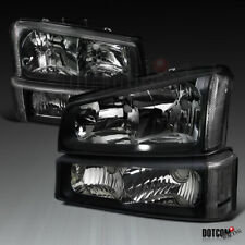 Chevy 2003-2007 Silverado 2002-2006 Avalanche Black Headlights+Signal Bumper