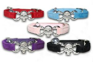 Cat Collar Velvet Felt Bling Cute Diamante Safety Elastic Bell Skull Pink Black