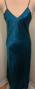 Vintage Victoria's Secret Silk Teal Blue Long Satin Gown M NWT