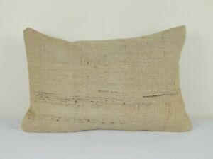 "Organic Turkish Hemp Pillow, Kilim Cushion Cover, 16"" X 24"""