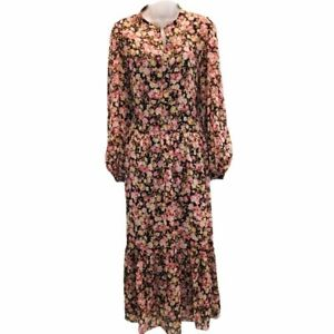H & M Womens Peasant Dress Brown Floral Ruffle Maxi Semi Sheer Long Sleeve S New
