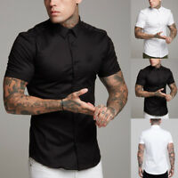 US 2019 Summer Mens Lapel Breathable Muscle Slim Fit Gym Short Sleeve Shirt Tops