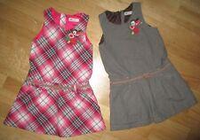 TOP SET 2 x Kleider Paket H&M 116 kariert Karo pink grün & braun Stickerei Vogel