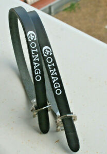 Rare NOS Vintage 1980s COLNAGO Black pelle Italiana Pedale Toe Straps