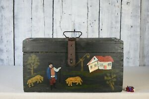Vintage wooden box / Wooden chest box / Wooden box with lid / Storage box