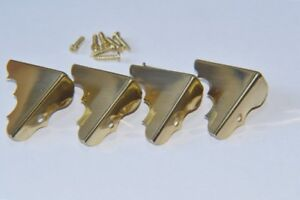 Solid Polished Brass Box Corners - with fitting screws - Prokraft PKR KCP