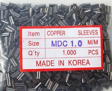 Copper Double Barrel Mini Crimp Sleeves 1.0mm x 7mm - 1,000 piece pack