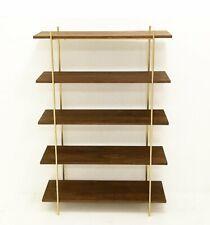 MidCentury Style Walnut & Gold Wall Unit