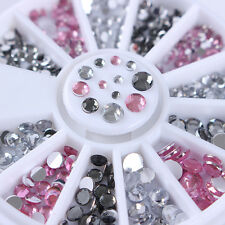 Rhinestones 3D Nail Art Decoration in Wheel Pink Clear Grey Mixed Size Decor