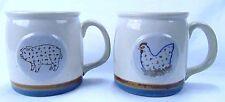 Vintage Stoneware Coffee Cup Mugs Pig Hen Farm Animals Blue Brown Striped Base