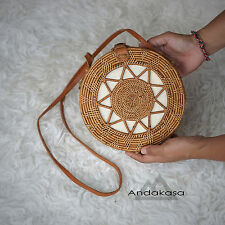 Round Basket Rattan Summer Bag, Round Brown Woven Bag , Beautiful Shoulder Bag